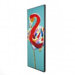 Framed 16 x 48 - 3D - Colorful flamingo