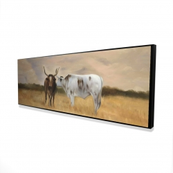 Framed 16 x 48 - 3D - Two cows kissing by sunset