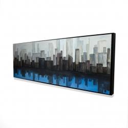 Framed 16 x 48 - 3D - View of a blue city
