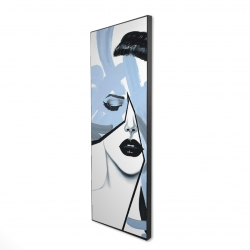 Framed 16 x 48 - 3D - Abstract blue woman portrait