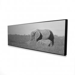 Framed 16 x 48 - 3D - Elephants in the savannah