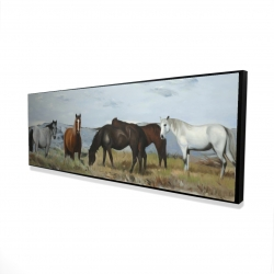 Framed 16 x 48 - 3D - Horses eating in the meadow