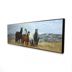Framed 16 x 48 - 3D - Horses in the meadow by the sun
