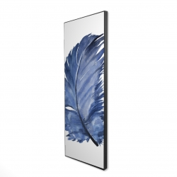 Framed 16 x 48 - 3D - Watercolor blue feather