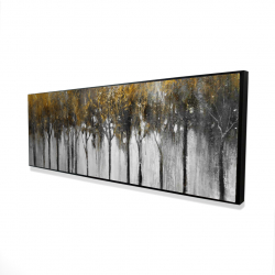 Framed 16 x 48 - 3D - Abstract yellow forest