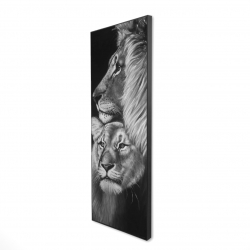 Framed 16 x 48 - 3D - Lion and lioness