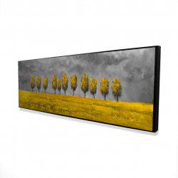 Framed 16 x 48 - 3D - Yellow trees in a field