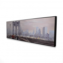 Framed 16 x 48 - 3D - Brooklyn bridge with passersby
