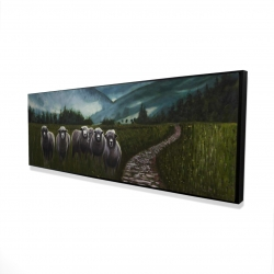 Framed 16 x 48 - 3D - Sheep in the countryside