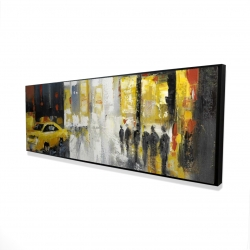 Framed 16 x 48 - 3D - Rainy busy street