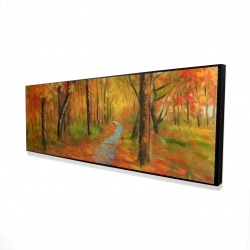 Framed 16 x 48 - 3D - Autumn trail in the forest