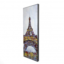 Framed 16 x 48 - 3D - Abstract paint splash eiffel tower