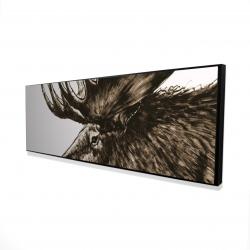 Framed 16 x 48 - 3D - Moose plume sepia