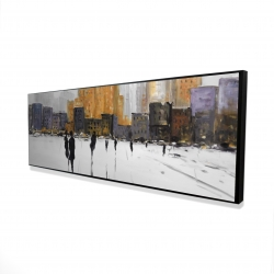 Framed 16 x 48 - 3D - Silhouettes walking towards the city