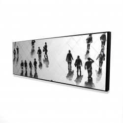 Framed 16 x 48 - 3D - Overhead view of people on the street