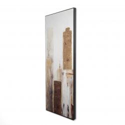 Framed 16 x 48 - 3D - Abstract earthy tones city