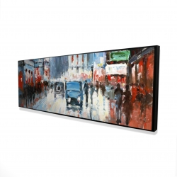 Framed 16 x 48 - 3D - Abstract red and blue city