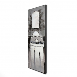 Framed 16 x 48 - 3D - Gray building with passersby