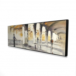 Framed 16 x 48 - 3D - People in a spacious hall