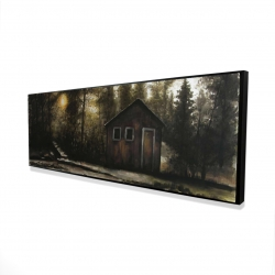 Framed 16 x 48 - 3D - Cabin in the forest