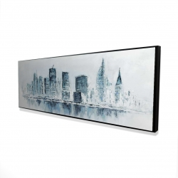 Framed 16 x 48 - 3D - City in blue colors