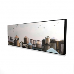 Framed 16 x 48 - 3D - Water towers with birds
