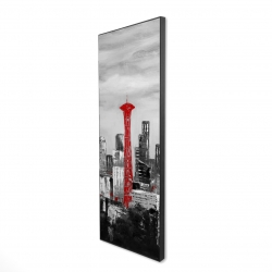 Framed 16 x 48 - 3D - Space needle in red