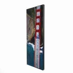 Framed 16 x 48 - 3D - Overhead view of the golden gate and mountains