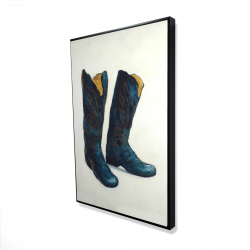 Framed 24 x 36 - 3D - Leather cowboy boots