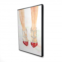 Framed 24 x 36 - 3D - Red studded high heels