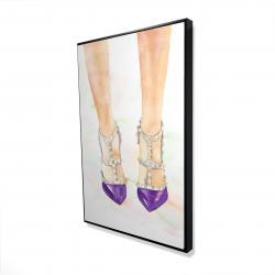 Framed 24 x 36 - 3D - Purple studded high heels