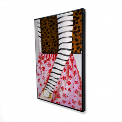 Framed 24 x 36 - 3D - Fashionable woman with a leopard bag