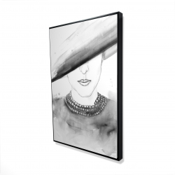 Framed 24 x 36 - 3D - Mysterious lady with a hat