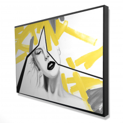 Framed 24 x 36 - 3D - Woman with yellow line