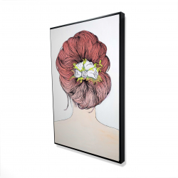 Framed 24 x 36 - 3D - Lady with flowers in her hair