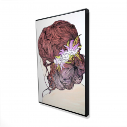 Framed 24 x 36 - 3D - Woman from behind with flowers