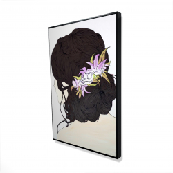 Framed 24 x 36 - 3D - Woman from behind with pink flowers