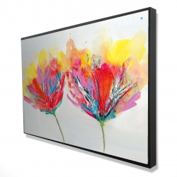 Framed 24 x 36 - 3D - Colorful flowers with a butterfly