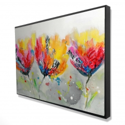 Framed 24 x 36 - 3D - Four colored flowers on gray background