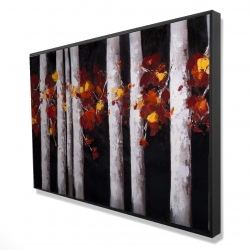 Framed 24 x 36 - 3D - White trees with orange leaves