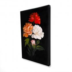 Framed 24 x 36 - 3D - Three beautiful rose flowers