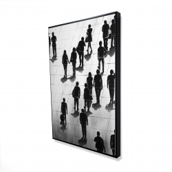 Framed 24 x 36 - 3D - Silhouettes of people on the street