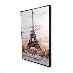 Framed 24 x 36 - 3D - Eiffel tower sketch with an handwritten message