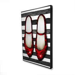 Framed 24 x 36 - 3D - Red glossy shoes on striped background