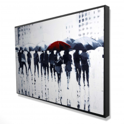 Framed 24 x 36 - 3D - Silhouettes walking in the rain