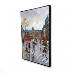 Framed 24 x 36 - 3D - People walking across the street by a rainy day