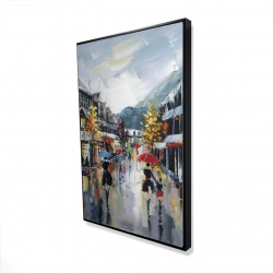 Framed 24 x 36 - 3D - Passersby in the street by rainy day of fall