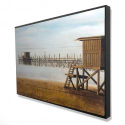 Framed 24 x 36 - 3D - Lifeguard tower at the beach