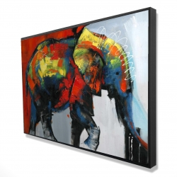 Framed 24 x 36 - 3D - Abstract and colorful elephant in motion