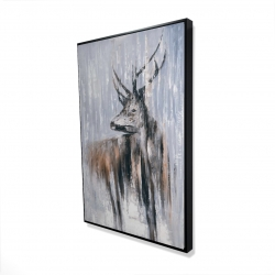 Framed 24 x 36 - 3D - Deer in the forest by a rainy day